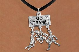 "<br>WHOLESALE BASKETBALL TEAM MOM NECKLACE<Br>               EXCLUSIVELY OURS!! <Br>          AN ALLAN ROBIN DESIGN!! <Br>             LEAD & NICKEL FREE!! <BR> W20115N - SILVER TONE ""GO TEAM!"" <BR> DUNKER, ""TEAM MOM"", AND PLAYER CHARMS <BR> WOMEN'S BASKETBALL THEMED PENDANT<BR>          ON BLACK SUEDE NECKLACE <BR>         FROM $7.85 TO $17.50 �2013"