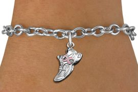 <BR>WHOLESALE BREAST CANCER JEWELRY<bR>                     EXCLUSIVELY OURS!!<BR>               AN ALLAN ROBIN DESIGN!!<BR>      CLICK HERE TO SEE 1000+ EXCITING<BR>         CHANGES THAT YOU CAN MAKE!<BR>        CADMIUM,  LEAD & NICKEL FREE!! <BR>W312SB - SILVER TONE SNEAKER <BR>PINK RIBBON CHARM BRACELET <BR>           FROM $4.15 TO $8.00 �2012