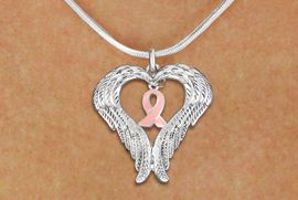 <BR>      WHOLESALE BREAST CANCER JEWELRY<bR>               EXCLUSIVELY OURS!! <BR>             LEAD & NICKEL FREE!!<BR>W19691N - GUARDIAN ANGEL WINGS <Br>AND PINK AWARENESS RIBBON <BR>CHARM & SNAKE CHAIN NECKLACE <BR>     FROM $5.63 TO $12.50 �2012