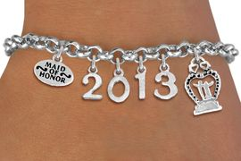 """<br>  WHOLESALE BRIDAL CHARM BRACELETS! <Br>                     EXCLUSIVELY OURS!! <Br>                AN ALLAN ROBIN DESIGN!! <Br>                   LEAD & NICKEL FREE!! <BR>            THIS IS A PERSONALIZED ITEM <Br>    W20409B - SILVER TONE LOBSTER CLASP <BR> """"MAID OF HONOR"""", CUSTOM YEAR BRACELET <BR>            FROM $9.00 TO $20.00 �2013"""