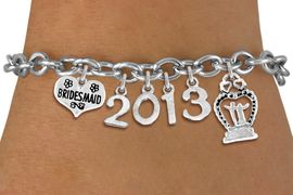 <br> WHOLESALE BRIDESMAID CHARM BRACELETS! <Br>                     EXCLUSIVELY OURS!!<Br>                AN ALLAN ROBIN DESIGN!!<Br>                  LEAD & NICKEL FREE!! <BR>           THIS IS A PERSONALIZED ITEM <Br>   W20400B - SILVER TONE TOGGLE CLASP <BR> BRIDESMAID THEMED CUSTOM YEAR BRACELET <BR>           FROM $9.00 TO $20.00 �2013