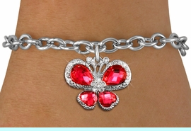 <BR>      WHOLESALE BUTTERFLY BRACELET<bR>                 EXCLUSIVELY OURS!! <Br>             AN ALLAN ROBIN DESIGN!! <BR>    CLICK HERE TO SEE 1000+ EXCITING <BR>       CHANGES THAT YOU CAN MAKE!<BR>       LEAD, NICKEL & CADMIUM FREE!! <BR> W1398SB - SILVER TONE AND RUBY RED <BR> CRYSTAL BUTTERFLY CHARM & BRACELET <BR>         FROM $5.40 TO $9.85 �2013