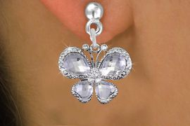 <BR>      WHOLESALE BUTTERFLY EARRING<bR>                  EXCLUSIVELY OURS!! <Br>              AN ALLAN ROBIN DESIGN!!<BR>        LEAD, NICKEL & CADMIUM FREE!! <BR> W1396SE - SILVER TONE AND CRYSTAL <BR>       BUTTERFLY CHARM EARRINGS <BR>          FROM $4.95 TO $10.00 �2013