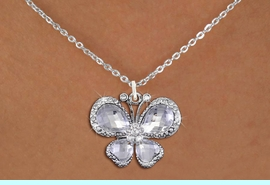 <BR>      WHOLESALE BUTTERFLY JEWELRY<bR>                    EXCLUSIVELY OURS!! <Br>                AN ALLAN ROBIN DESIGN!! <BR>       CLICK HERE TO SEE 1000+ EXCITING <BR>          CHANGES THAT YOU CAN MAKE! <BR>         LEAD, NICKEL & CADMIUM FREE!! <BR>  W1396SN - SILVER TONE AND CLEAR <BR> CRYSTAL BUTTERFLY CHARM AND NECKLACE <BR>             FROM $5.40 TO $9.85 �2013