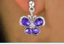 <BR>      WHOLESALE BUTTERFLY JEWELRY<bR>                  EXCLUSIVELY OURS!! <Br>              AN ALLAN ROBIN DESIGN!!<BR>        LEAD, NICKEL & CADMIUM FREE!! <BR>   W1397SE - SILVER TONE AND PURPLE <BR>  CRYSTAL BUTTERFLY CHARM EARRINGS <BR>          FROM $4.95 TO $10.00 �2013