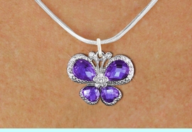 <BR>      WHOLESALE BUTTERFLY NECKLACE<bR>                    EXCLUSIVELY OURS!! <Br>                AN ALLAN ROBIN DESIGN!! <BR>       CLICK HERE TO SEE 1000+ EXCITING <BR>          CHANGES THAT YOU CAN MAKE! <BR>         LEAD, NICKEL & CADMIUM FREE!! <BR>  W1397SN - SILVER TONE AND PURPLE <BR> CRYSTAL BUTTERFLY CHARM AND NECKLACE <BR>             FROM $5.40 TO $9.85 �2013