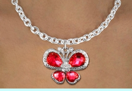 <BR>      WHOLESALE BUTTERFLY TOGGLE NECKLACE<bR>                    EXCLUSIVELY OURS!! <Br>                AN ALLAN ROBIN DESIGN!! <BR>       CLICK HERE TO SEE 1000+ EXCITING <BR>          CHANGES THAT YOU CAN MAKE! <BR>         LEAD, NICKEL & CADMIUM FREE!! <BR> W1398SN - SILVER TONE AND RUBY RED <BR> CRYSTAL BUTTERFLY CHARM AND NECKLACE <BR>             FROM $5.40 TO $9.85 �2013