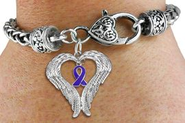 <BR>      WHOLESALE CANCER JEWELRY<bR>               EXCLUSIVELY OURS!! <BR>             LEAD & NICKEL FREE!!<BR>W19692B - GUARDIAN ANGEL WINGS <Br>AND PURPLE AWARENESS RIBBON <BR>CHARM & HEART CLASP BRACELET <BR>     FROM $6.19 TO $13.75 �2012