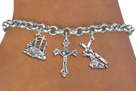 <BR>      WHOLESALE CATHOLIC BRACELET<bR>               EXCLUSIVELY OURS!! <Br>             LEAD & NICKEL FREE!! <BR>  W20187B - SILVER TONE CHRISTIAN <Br> THEMED LOBSTER CLASP MULTI CHARM <BR>  BRACELET WITH CRUCIFIX, CALVARY <BR>  AND JESUS CARRYING CROSS CHARMS <BR>             FROM $5.63 TO $12.50<BR>                               �2013