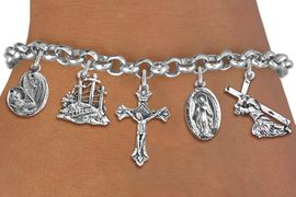 <BR>      WHOLESALE CATHOLIC BRACELET<bR>               EXCLUSIVELY OURS!! <Br>             LEAD & NICKEL FREE!! <BR>  W20191B - SILVER TONE CHRISTIAN <Br> THEMED LOBSTER CLASP MULTI CHARM <BR> BRACELET WITH CRUCIFIX, CALVARY, JESUS, <BR>  MARY AND CHILD, AND MORE CHARMS <BR>             FROM $8.10 TO $18.00