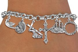 <BR>      WHOLESALE CATHOLIC BRACELET<bR>               EXCLUSIVELY OURS!! <Br>             LEAD & NICKEL FREE!! <BR>  W20197B - SILVER TONE CHRISTIAN <Br> THEMED LOBSTER CLASP MULTI CHARM <BR> BRACELET WITH CRUCIFIX, HOLY TRINITY, <BR>  DOVE, JESUS CARRYING CROSS, MOTHER <BR> MARY WITH CHILD, AND CALVARY CHARMS <BR>             FROM $9.00 TO $20.00<BR>                               �2013