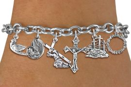<BR>      WHOLESALE CATHOLIC BRACELET<bR>               EXCLUSIVELY OURS!! <Br>             LEAD & NICKEL FREE!! <BR>  W20198B - SILVER TONE CHRISTIAN <Br> THEMED TOGGLE CLASP MULTI CHARMS<BR>                               �2013