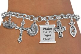<BR>      WHOLESALE CATHOLIC BRACELET<bR>                EXCLUSIVELY OURS!! <Br>              LEAD & NICKEL FREE!! <BR>   W20221B - SILVER TONE CHRISTIAN <Br>  THEMED LOBSTER CLASP MULTI CHARM <BR> BRACELET WITH CRUCIFIX, JESUS FISH, <BR> DOVE CROSS, KINGS CROWN, MOTHER MARY <BR>     WITH CHILD, AND SCROLL CHARMS <BR>             FROM $10.13 TO $22.50<BR>                               �2013