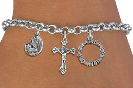 <BR>      WHOLESALE CATHOLIC JEWELRY<bR>               EXCLUSIVELY OURS!! <Br>             LEAD & NICKEL FREE!! <BR>  W20189B - SILVER TONE CHRISTIAN <Br> THEMED LOBSTER CLASP MULTI CHARM <BR> BRACELET WITH CRUCIFIX, TRINITY AND  <BR>     MOTHER MARY AND CHILD CHARMS <BR>             FROM $5.63 TO $12.50