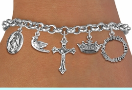 <BR>      WHOLESALE CATHOLIC JEWELRY<bR>               EXCLUSIVELY OURS!! <Br>             LEAD & NICKEL FREE!! <BR>  W20193B - SILVER TONE CHRISTIAN <Br> THEMED LOBSTER CLASP MULTI CHARM <BR> BRACELET WITH CRUCIFIX, CROWN, DOVE, <BR>    MARY, AND HOLY TRINITY CHARMS <BR>             FROM $8.10 TO $18.00<BR>                               �2013