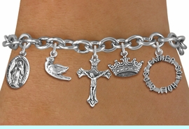 <BR>      WHOLESALE CATHOLIC JEWELRY<bR>               EXCLUSIVELY OURS!! <Br>             LEAD & NICKEL FREE!! <BR>  W20194B - SILVER TONE CHRISTIAN <Br> THEMED TOGGLE CLASP MULTI CHARM <BR> BRACELET WITH CRUCIFIX, CROWN, DOVE, <BR>    MARY, AND HOLY TRINITY CHARMS <BR>             FROM $8.10 TO $18.00<BR>                               �2013