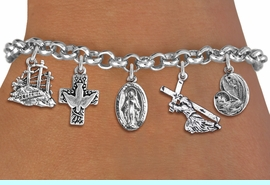 <BR>      WHOLESALE CATHOLIC JEWELRY<bR>               EXCLUSIVELY OURS!! <Br>             LEAD & NICKEL FREE!! <BR>  W20195B - SILVER TONE CHRISTIAN <Br> THEMED LOBSTER CLASP MULTI CHARM <BR> BRACELET WITH CROSS WITH DOVE, JESUS, <BR> MARY WITH CHILD, AND CALVARY CHARMS <BR>             FROM $8.10 TO $18.00 <BR>                               �2013