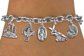 <BR>      WHOLESALE CATHOLIC JEWELRY<bR>               EXCLUSIVELY OURS!! <Br>             LEAD & NICKEL FREE!! <BR>  W20196B - SILVER TONE CHRISTIAN <Br> THEMED TOGGLE CLASP MULTI CHARM <BR> BRACELET WITH CROSS WITH DOVE, JESUS, <BR> MARY WITH CHILD, AND CALVARY CHARMS <BR>             FROM $8.10 TO $18.00<BR>                               �2013