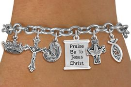 <BR>      WHOLESALE CATHOLIC JEWELRY<bR>                EXCLUSIVELY OURS!! <Br>              LEAD & NICKEL FREE!! <BR>   W20222B - SILVER TONE CHRISTIAN <Br>   THEMED TOGGLE CLASP MULTI CHARM <BR> BRACELET WITH CRUCIFIX, JESUS FISH, <BR> DOVE CROSS, KINGS CROWN, MOTHER MARY <BR>     WITH CHILD, AND SCROLL CHARMS <BR>             FROM $10.13 TO $22.50<BR>                               �2013