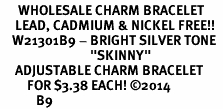 "<BR>      WHOLESALE CHARM BRACELET <BR>     LEAD, CADMIUM & NICKEL FREE!!  <BR>    W21301B9 - BRIGHT SILVER TONE  <BR>                              ""SKINNY""<BR>     ADJUSTABLE CHARM BRACELET  <BR>         FOR $3.38 EACH! &#169;2014 <BR>            B9"
