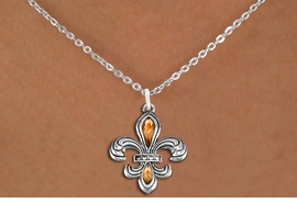 <BR>      WHOLESALE CHARM NECKLACE <bR>                    EXCLUSIVELY OURS!! <Br>               AN ALLAN ROBIN DESIGN!! <BR>      CLICK HERE TO SEE 1000+ EXCITING <BR>            CHANGES THAT YOU CAN MAKE! <BR>         LEAD, NICKEL & CADMIUM FREE!! <BR>    W1507SN - SILVER TONE AND AUSTRIAN <BR>     TOPAZ CRYSTAL FLEUR DE LIS CHARM  <BR>    NECKLACE FROM $5.40 TO $9.85 �2013