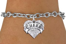 "<BR> WHOLESALE CHEER BRACELET JEWELRY<bR>               EXCLUSIVELY OURS!! <Br>          AN ALLAN ROBIN DESIGN!! <BR> CLICK HERE TO SEE 1000+ EXCITING <BR>       CHANGES THAT YOU CAN MAKE! <BR>    LEAD, NICKEL & CADMIUM FREE!! <BR> W1408SB - SILVER TONE ""CHEER"" CLEAR <BR>   CRYSTAL HEART CHARM & BRACELET <BR>                      $9.38 EACH �2013"