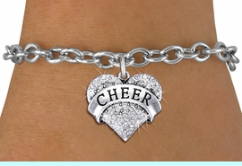 """<BR> WHOLESALE CHEER BRACELET JEWELRY<bR>               EXCLUSIVELY OURS!! <Br>          AN ALLAN ROBIN DESIGN!! <BR> CLICK HERE TO SEE 1000+ EXCITING <BR>       CHANGES THAT YOU CAN MAKE! <BR>    LEAD, NICKEL & CADMIUM FREE!! <BR> W1408SB - SILVER TONE """"CHEER"""" CLEAR <BR>   CRYSTAL HEART CHARM & BRACELET <BR>                      $9.38 EACH �2013"""