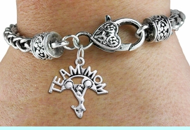 """<bR>    WHOLESALE CHEER CHARM BRACELET <BR>                     EXCLUSIVELY OURS!! <BR>                AN ALLAN ROBIN DESIGN!! <BR>          CADMIUM, LEAD & NICKEL FREE!! <BR>        W1484SB - DETAILED SILVER TONE  <BR> """"TEAM MOM"""" CHEERLEADER CHARM & HEART CLASP <BR>      BRACELET FROM $3.94 TO $8.75 �2013"""