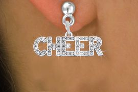 """<BR>      WHOLESALE CHEER EARRING<bR>              EXCLUSIVELY OURS!! <Br>         AN ALLAN ROBIN DESIGN!! <BR>   LEAD, NICKEL & CADMIUM FREE!! <BR> W1410SE - SILVER TONE AND CRYSTAL <BR>     """"CHEER"""" WORD CHARM EARRINGS <BR>      FROM $4.95 TO $10.00 �2013"""