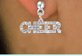 "<BR>                   CHEER EARRING<bR>              EXCLUSIVELY OURS!! <Br>         AN ALLAN ROBIN DESIGN!! <BR>   LEAD, NICKEL & CADMIUM FREE!! <BR> W1410SE - SILVER TONE AND CRYSTAL <BR>     ""CHEER"" WORD CHARM EARRINGS <BR>                  $11.38 EACH  �2013"