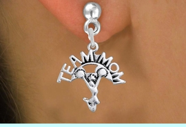 """<br>        WHOLESALE CHEER EARRINGS <bR>                  EXCLUSIVELY OURS!! <BR>             AN ALLAN ROBIN DESIGN!! <BR>       CADMIUM, LEAD & NICKEL FREE!! <BR>      W1484SE - DETAILED SILVER TONE <Br> """"TEAM MOM"""" CHEERLEADER CHARM EARRINGS <BR>           FROM $3.65 TO $8.40 �2013"""