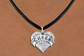 """<BR>      WHOLESALE CHEER JEWELRY<bR>                  EXCLUSIVELY OURS!! <Br>             AN ALLAN ROBIN DESIGN!! <BR>    CLICK HERE TO SEE 1000+ EXCITING <BR>          CHANGES THAT YOU CAN MAKE! <BR>       LEAD, NICKEL & CADMIUM FREE!! <BR> W1408SN - SILVER TONE """"CHEER"""" CLEAR <BR>    CRYSTAL HEART CHARM AND NECKLACE <BR>           FROM $5.40 TO $9.85 �2013"""