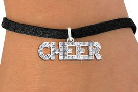 "<BR>                    CHEER JEWELRY<bR>                EXCLUSIVELY OURS!! <Br>           AN ALLAN ROBIN DESIGN!! <BR>         ADJUSTABLE BLACK SUEDE <BR>     LEAD, NICKEL & CADMIUM FREE <BR> W1410SB - SILVER TONE AND CRYSTAL <BR>     ""CHEER"" WORD CHARM & BRACELET <BR>                        $9.38 EACH  �2013"