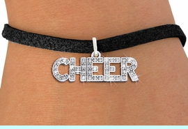 """<BR>                    CHEER JEWELRY<bR>                EXCLUSIVELY OURS!! <Br>           AN ALLAN ROBIN DESIGN!! <BR>         ADJUSTABLE BLACK SUEDE <BR>     LEAD, NICKEL & CADMIUM FREE <BR> W1410SB - SILVER TONE AND CRYSTAL <BR>     """"CHEER"""" WORD CHARM & BRACELET <BR>                        $9.38 EACH  �2013"""