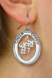 "<br>            WHOLESALE CHEER JEWELRY<bR>                  EXCLUSIVELY OURS!! <BR>             AN ALLAN ROBIN DESIGN!! <BR>                LEAD & NICKEL FREE!! <BR> W20279E -  SILVER TONE ""CHEER"" OVAL <BR>  WITH FREE-HANGING ""WE'RE #1"" CHARM <BR>      ON A PAIR OF FISHHOOK EARRINGS <BR>          FROM $8.10 TO $18.00 �2013"