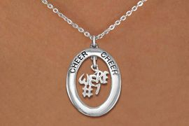 """<br>            WHOLESALE CHEER JEWELRY<bR>                    EXCLUSIVELY OURS!! <BR>               AN ALLAN ROBIN DESIGN!! <BR>                  LEAD & NICKEL FREE!! <BR>   W20280N -  SILVER TONE """"CHEER"""" OVAL <BR>     WITH SILVER TONE """"WE'RE #1"""" CHARM <BR>          CHARM ON CHAIN LINK NECKLACE <BR>            FROM $5.85 TO $13.00 �2013"""