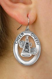 "<br>            WHOLESALE CHEER JEWELRY<bR>                  EXCLUSIVELY OURS!! <BR>             AN ALLAN ROBIN DESIGN!! <BR>                LEAD & NICKEL FREE!! <BR> W20281E -  SILVER TONE ""CHEER"" OVAL <BR> WITH CHEER MEGAPHONE AND POMS CHARM <BR>      ON A PAIR OF FISHHOOK EARRINGS <BR>          FROM $8.10 TO $18.00 �2013"