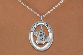 """<br>            WHOLESALE CHEER JEWELRY<bR>                    EXCLUSIVELY OURS!! <BR>               AN ALLAN ROBIN DESIGN!! <BR>                  LEAD & NICKEL FREE!! <BR>   W20282N -  SILVER TONE """"CHEER"""" OVAL <BR> WITH """"CHEER"""" MEGAPHONE AND POMS CHARM <BR>          CHARM ON CHAIN LINK NECKLACE <BR>            FROM $5.85 TO $13.00 �2013"""