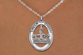 """<br>            WHOLESALE CHEER JEWELRY<bR>                    EXCLUSIVELY OURS!! <BR>               AN ALLAN ROBIN DESIGN!! <BR>                  LEAD & NICKEL FREE!! <BR>   W20284N -  SILVER TONE """"CHEER"""" OVAL <BR> WITH SILVER TONE """"CHEERLEADING"""" CHARM <BR>          CHARM ON CHAIN LINK NECKLACE <BR>            FROM $5.85 TO $13.00 �2013"""
