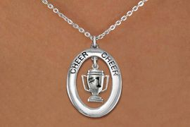 """<br>             WHOLESALE CHEER JEWELRY<bR>                     EXCLUSIVELY OURS!! <BR>                AN ALLAN ROBIN DESIGN!! <BR>                   LEAD & NICKEL FREE!! <BR>    W20286N -  SILVER TONE """"CHEER"""" OVAL <BR>     WITH SILVER TONE """"#1"""" TROPHY CHARM <BR>           CHARM ON CHAIN LINK NECKLACE <BR>             FROM $5.85 TO $13.00 �2013"""