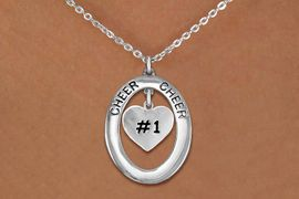 """<br>           WHOLESALE CHEER JEWELRY<bR>                     EXCLUSIVELY OURS!! <BR>                AN ALLAN ROBIN DESIGN!! <BR>                   LEAD & NICKEL FREE!! <BR>    W20288N -  SILVER TONE """"CHEER"""" OVAL <BR>      WITH SILVER TONE """"#1"""" HEART CHARM <BR>           CHARM ON CHAIN LINK NECKLACE <BR>             FROM $5.85 TO $13.00 �2013"""