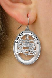 "<br>           WHOLESALE CHEER JEWELRY<bR>                   EXCLUSIVELY OURS!! <BR>              AN ALLAN ROBIN DESIGN!! <BR>                 LEAD & NICKEL FREE!! <BR>  W20289E -  SILVER TONE ""CHEER"" OVAL <BR> WITH ""I LOVE CHEERLEADING"" HEART CHARM <BR>       ON A PAIR OF FISHHOOK EARRINGS <BR>           FROM $8.10 TO $18.00 �2013"