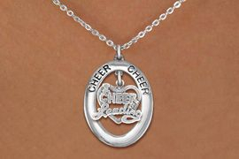 """<br>      WHOLESALE CHEER JEWELRY<bR>                     EXCLUSIVELY OURS!! <BR>                AN ALLAN ROBIN DESIGN!! <BR>                   LEAD & NICKEL FREE!! <BR>    W20290N -  SILVER TONE """"CHEER"""" OVAL <BR> WITH """"I LOVE CHEERLEADING"""" HEART CHARM <BR>           CHARM ON CHAIN LINK NECKLACE <BR>             FROM $5.85 TO $13.00 �2013"""