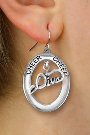 "<br>          WHOLESALE CHEER JEWELRY<bR>                   EXCLUSIVELY OURS!! <BR>              AN ALLAN ROBIN DESIGN!! <BR>                 LEAD & NICKEL FREE!! <BR>  W20291E -  SILVER TONE ""CHEER"" OVAL <BR>        WITH SILVER TONE ""DIVA"" CHARM <BR>       ON A PAIR OF FISHHOOK EARRINGS <BR>           FROM $8.10 TO $18.00 �2013"