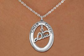 """<br>            WHOLESALE CHEER JEWELRY<bR>                     EXCLUSIVELY OURS!! <BR>                AN ALLAN ROBIN DESIGN!! <BR>                   LEAD & NICKEL FREE!! <BR>    W20292N -  SILVER TONE """"CHEER"""" OVAL <BR>          WITH SILVER TONE """"DIVA"""" CHARM <BR>           CHARM ON CHAIN LINK NECKLACE <BR>             FROM $5.85 TO $13.00 �2013"""