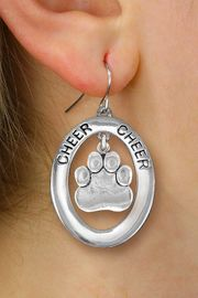 "<br>            WHOLESALE CHEER JEWELRY<bR>                   EXCLUSIVELY OURS!! <BR>              AN ALLAN ROBIN DESIGN!! <BR>                 LEAD & NICKEL FREE!! <BR>  W20293E -  SILVER TONE ""CHEER"" OVAL <BR>     WITH SILVER TONE PAW PRINT CHARM <BR>       ON A PAIR OF FISHHOOK EARRINGS <BR>           FROM $8.10 TO $18.00 �2013"