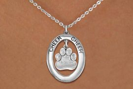 """<br>             WHOLESALE  CHEER JEWELRY<bR>                     EXCLUSIVELY OURS!! <BR>                AN ALLAN ROBIN DESIGN!! <BR>                   LEAD & NICKEL FREE!! <BR>    W20294N -  SILVER TONE """"CHEER"""" OVAL <BR>       WITH SILVER TONE PAW PRINT CHARM <BR>           CHARM ON CHAIN LINK NECKLACE <BR>             FROM $5.85 TO $13.00 �2013"""