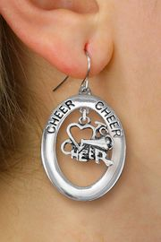 "<br>           WHOLESALE CHEER JEWELRY<bR>                   EXCLUSIVELY OURS!! <BR>              AN ALLAN ROBIN DESIGN!! <BR>                 LEAD & NICKEL FREE!! <BR>  W20295E -  SILVER TONE ""CHEER"" OVAL <BR>  WITH SILVER TONE ""LOVE TO CHEER"" CHARM <BR>       ON A PAIR OF FISHHOOK EARRINGS <BR>           FROM $8.10 TO $18.00 �2013"
