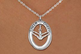 """<br>             WHOLESALE CHEER JEWELRY <bR>                  EXCLUSIVELY OURS!! <BR>             AN ALLAN ROBIN DESIGN!! <BR>                LEAD & NICKEL FREE!! <BR>  W20344N -  SILVER TONE """"CHEER"""" OVAL <BR>  WITH SILVER TONE CHEERLEADER SPLITS <BR>        CHARM ON CHAIN LINK NECKLACE <BR>          FROM $5.85 TO $13.00 �2013"""