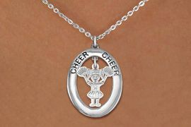 """<br>             WHOLESALE CHEER JEWELRY <bR>                  EXCLUSIVELY OURS!! <BR>             AN ALLAN ROBIN DESIGN!! <BR>                LEAD & NICKEL FREE!! <BR> W20346N -  SILVER TONE """"CHEER"""" OVAL <BR>  WITH LITTLE GIRL CHEERLEADER POMS <BR>        CHARM ON CHAIN LINK NECKLACE <BR>          FROM $5.85 TO $13.00 �2013"""